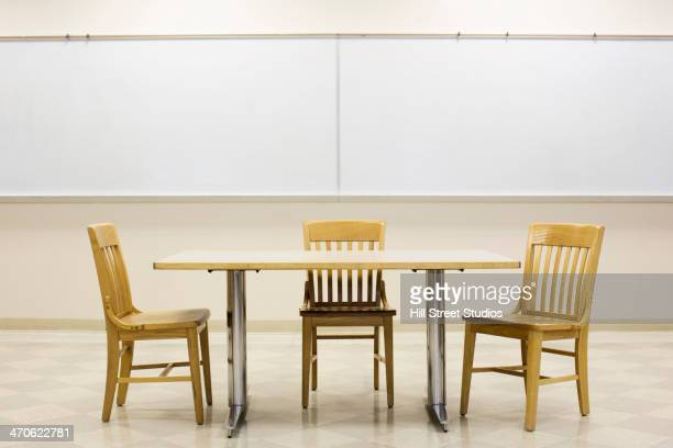 Table and chairs in empty classroom