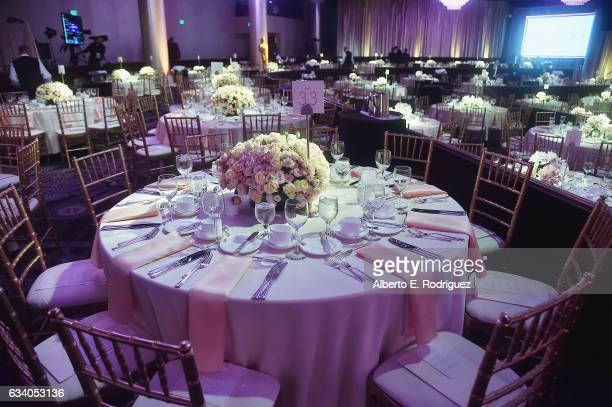 Table arrangements are displayed at the 89th Annual Academy Awards Nominee Luncheon at The Beverly Hilton Hotel on February 6 2017 in Beverly Hills...