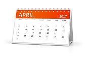 An image of a table calendar for your events 2017 april