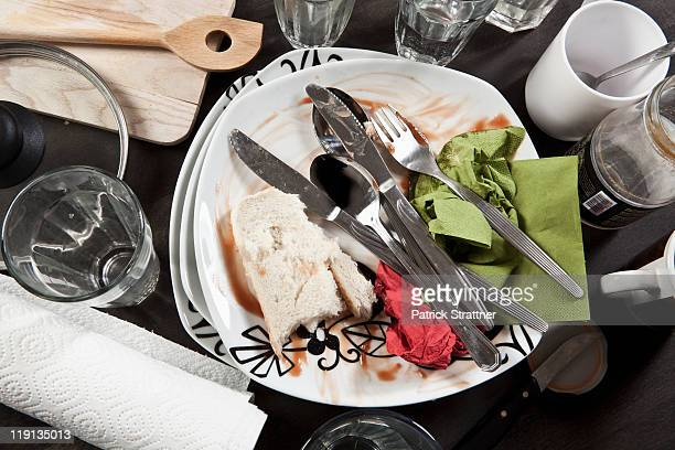 A table cluttered with dirty dishes, close-up
