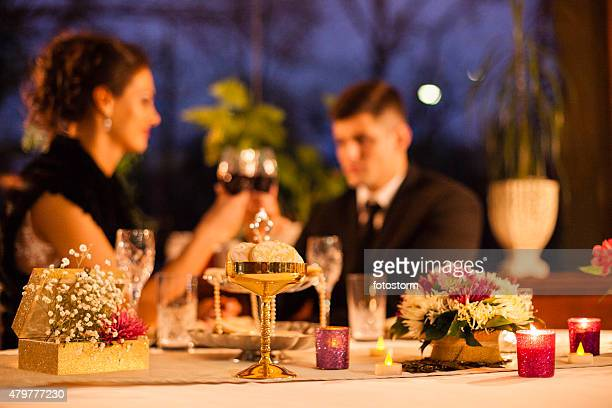 Table decoration on romantic dinner at the restaurant