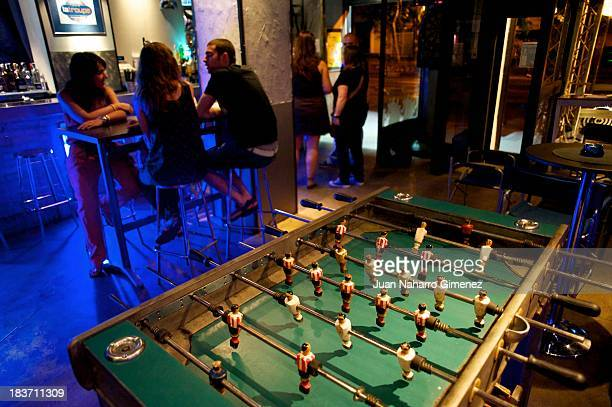 A table football is seen at La Troype Bar on June 26 2013 in Madrid Spain Table football also known as 'futbolin' was a game played in pubs in Spain...