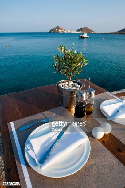 Table for two at restaurant, Mykonos, Cyclades, Greece
