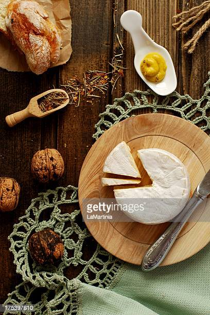 Table French style with camembert cheese