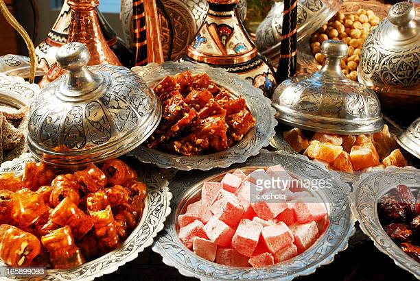 Table full of various Turkish delights