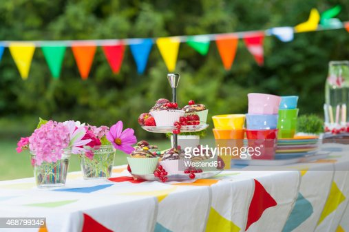 Table in garden on a birthday party