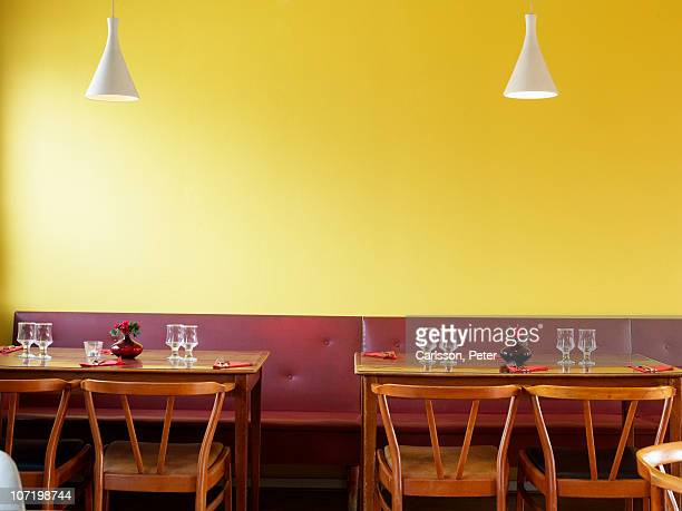 Table laid out in restaurant