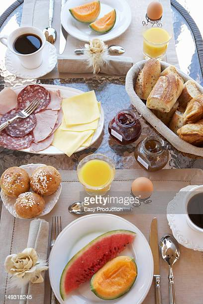 Table laid with breakfast