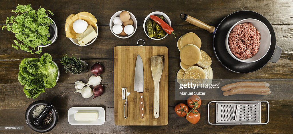 Table laid with ingredients and utensils : Stock Photo