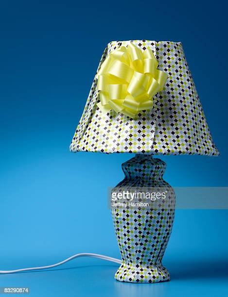 Table lamp wrapped in gift wrap