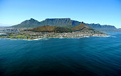 view across the ocean to cape town, south africa