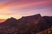 Sunrise of Table Mountain from Lions head