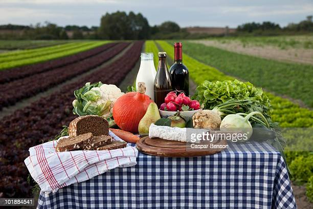 A table of fresh food and drinks set on a farm
