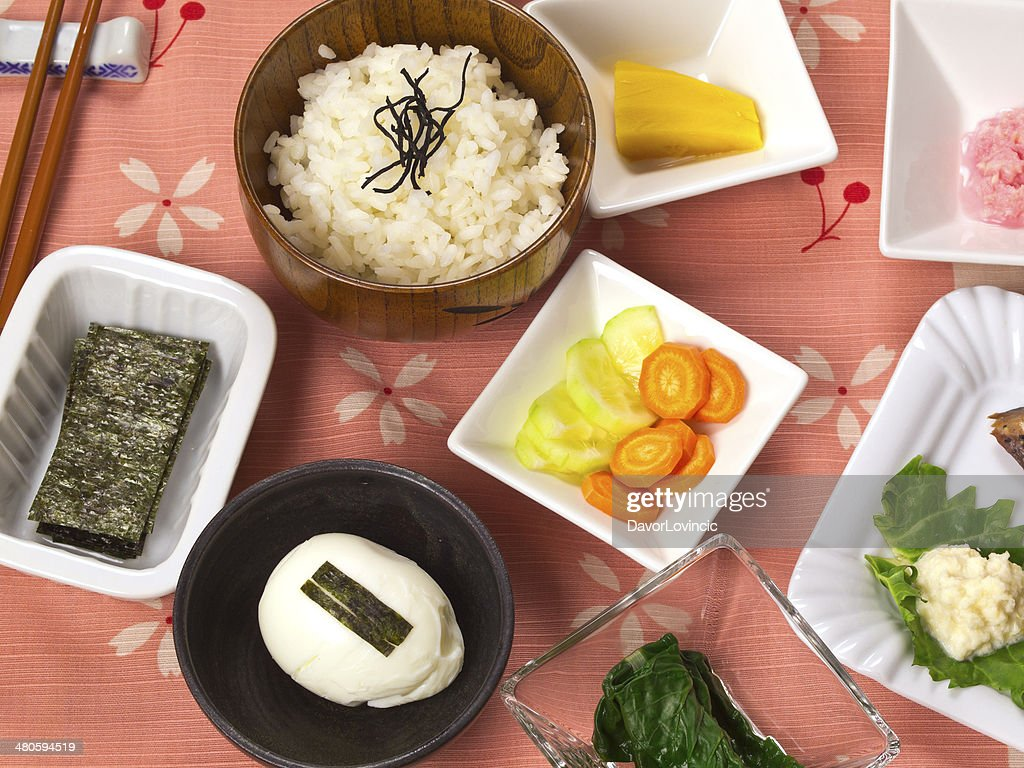 A table of various foods for a Nihon breakfast. : Stock Photo