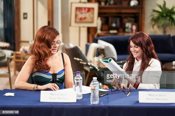 WILL GRACE 'Table Read 1st Episode' Pictured Debra Messing Megan Mullally