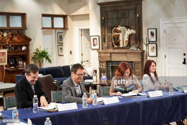 WILL GRACE 'Table Read 1st Episode' Pictured Sean Hayes Eric McCormack Debra Messing Megan Mullally