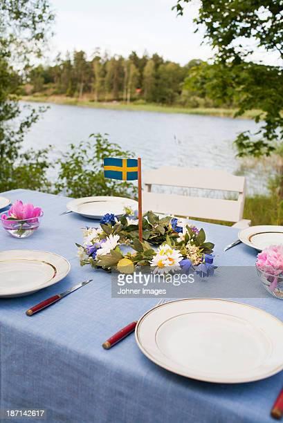 Table ready for midsummer celebration