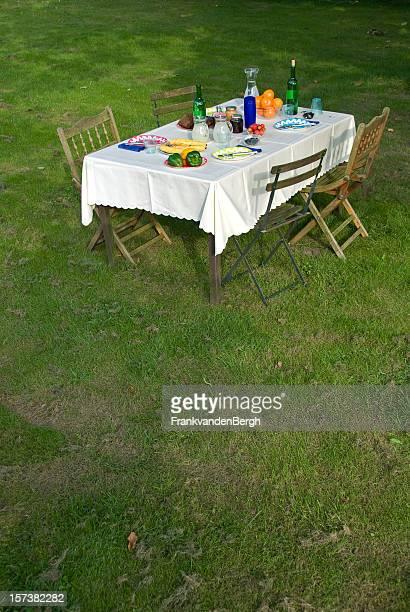 Table préparée pour un déjeuner avec vue sur le jardin