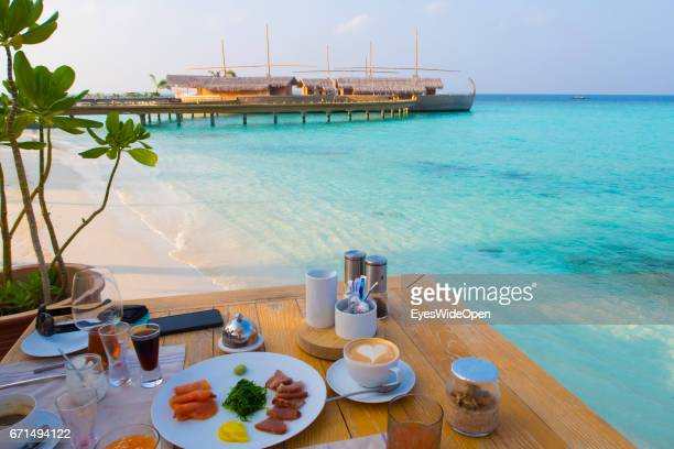 Table set for Breakfast in the OpenAirRestaurant at Lifestyle Resort Milaidhoo Island BaaAtoll on February 23 2017 in Male Maldives