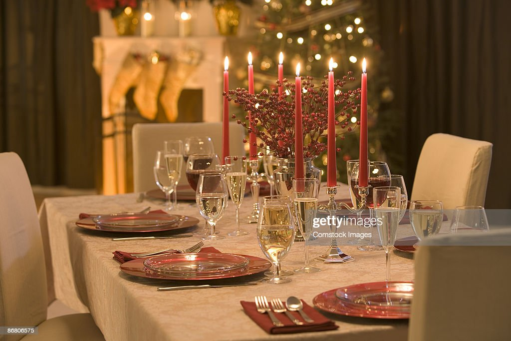 Table Set For Christmas Dinner Stock Photo Getty Images