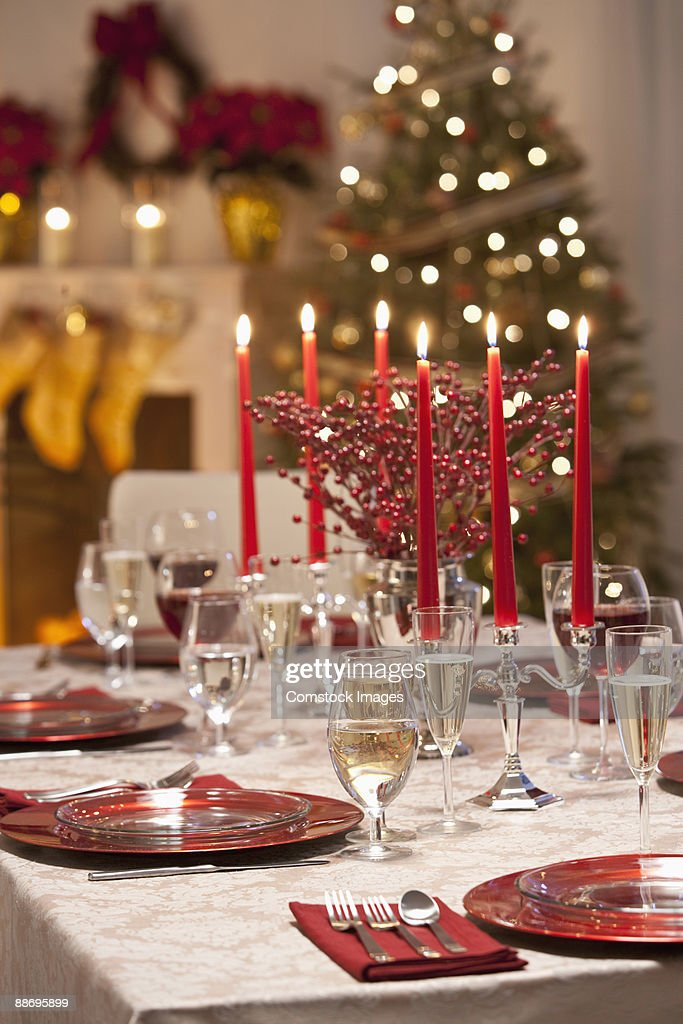 Table set for Christmas Dinner : Stock Photo