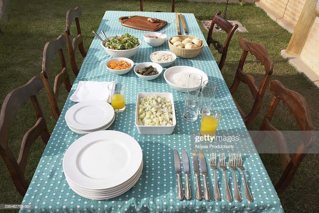 Table set for dinner on lawn, elevated view : Stock Photo