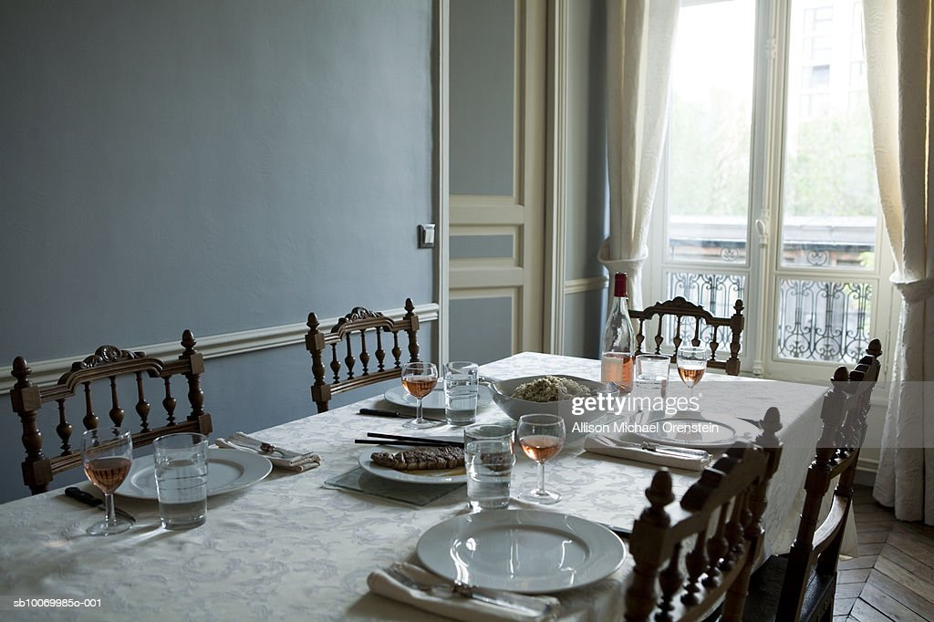 Table set for dinner : Stock Photo