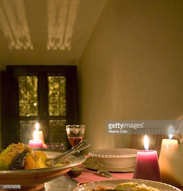Table set for dinner with candles