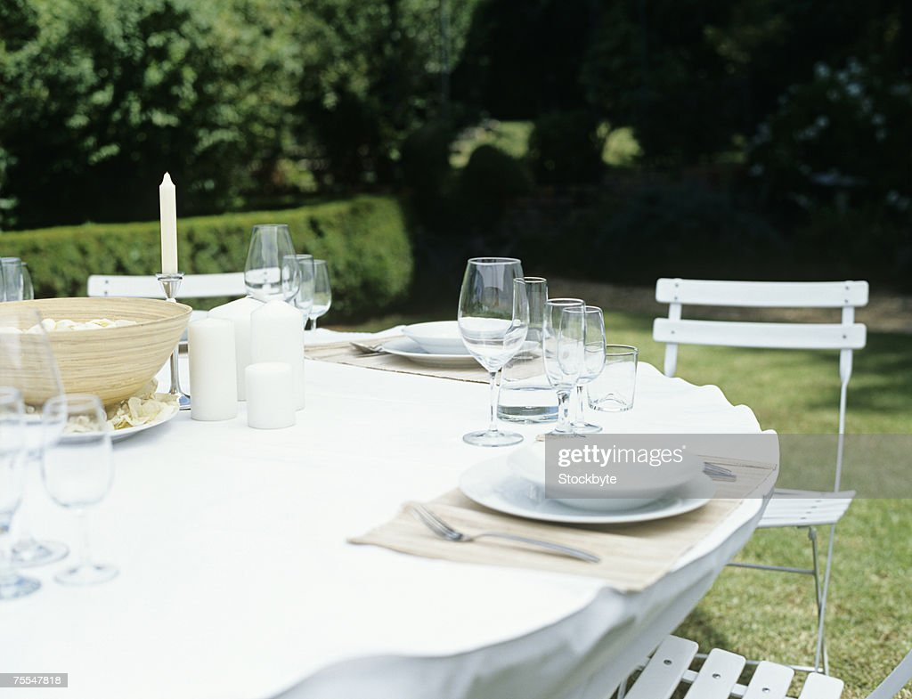Table set for dinner,outdoors : Stock Photo