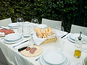 Table set for meal in garden