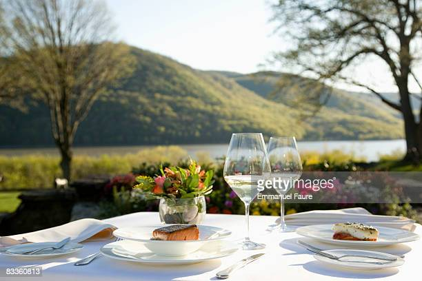 Table set outdoors with fish
