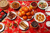 Table set with Chinese New Year food.