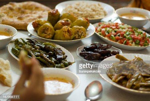 Table set with Ramadan food in Istanbul Turkey