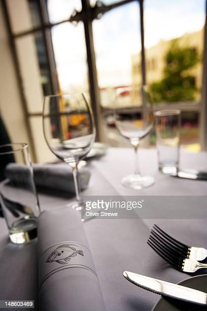 Table setting at Logan Brown fine dining restaurant, 192 Cuba Street.