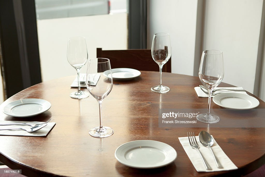 Table setting in restaurant : Stock Photo