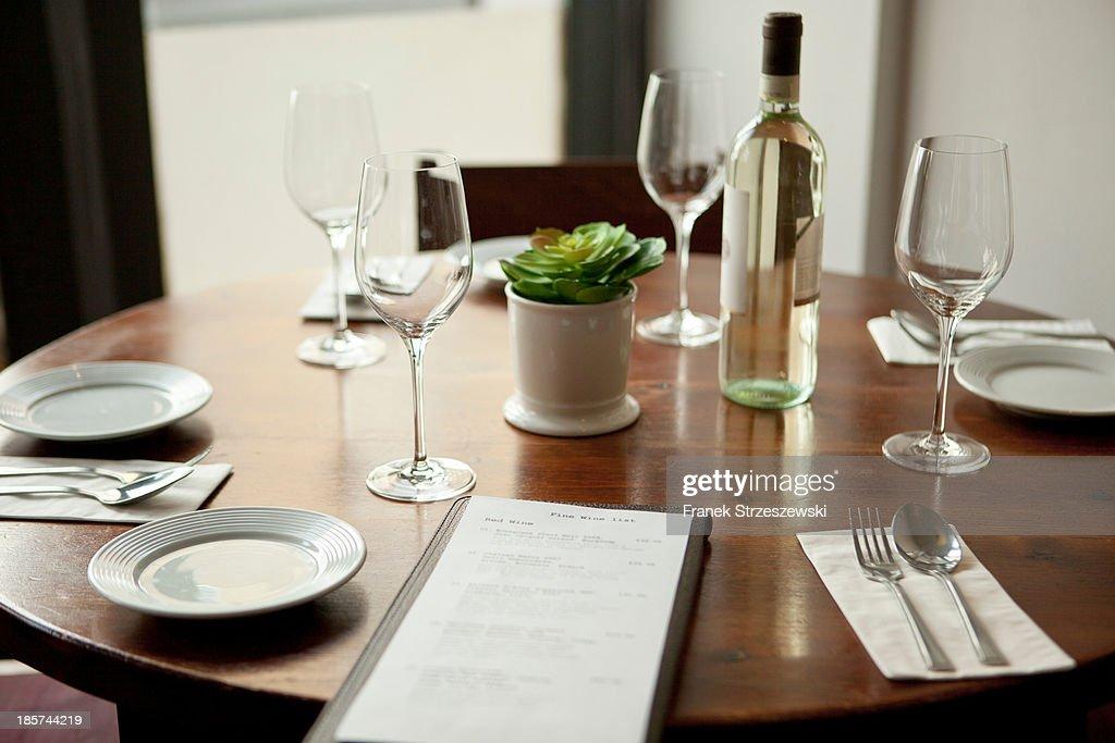 Table setting in restaurant : Stock Photo