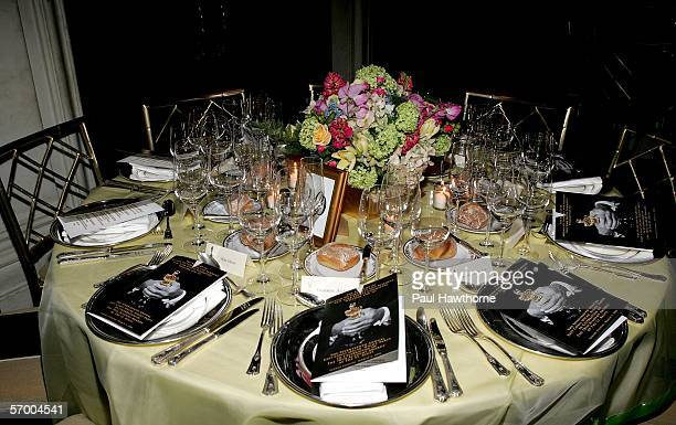 Table setting is seen prior to the start of the Academy of Motion Picture Arts Sciences New York Oscar Night Celebration at The St Regis Hotel March...