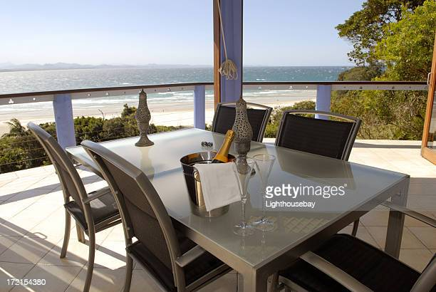 Table setting with a view to the beach