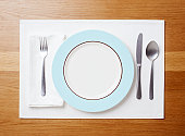 Table setting with an empty plate