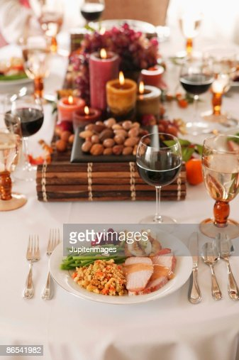Table setting with food