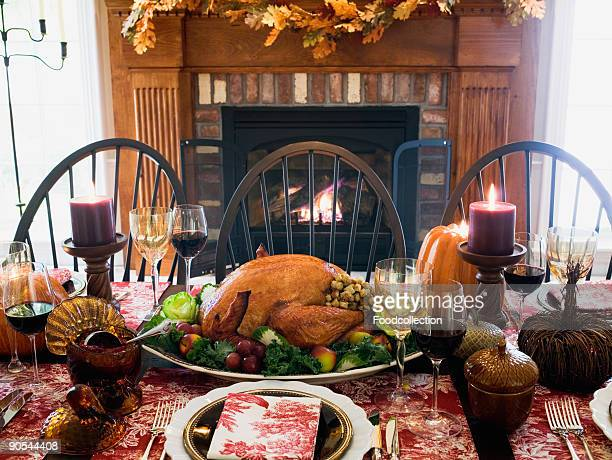 Table setting with stuffed turkey