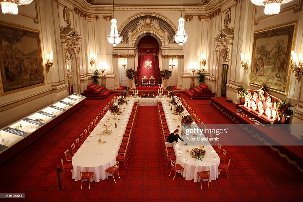 Table settings are laid out in the Palace Ballroom for a State Banquet at The Royal Welcome Summer opening exhibition at Buckingham Palace on July 23, 2015 in London, England. Last year the Royal Family welcomed around 62,000 guests to Buckingham Palace, at State Visits, receptions, Garden Parties, Investitures and private audiences. At the Summer Opening of the Palace, displays throughout the State Rooms have recreated the settings for some of these royal occasions, and give an insight into what goes into creating a royal welcome, from the laying of a table at a State Banquet, to the creation of an outfit worn by Her MajestyThe Queen to receive visitors.
