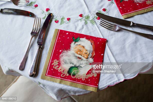 Table settings prepared for christmas lunch