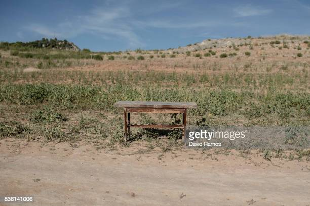 A table sits on the dried bed of Entrepenas reservoir second largest water reservoir feeding the Segura River and Spain's Southeastern regions which...