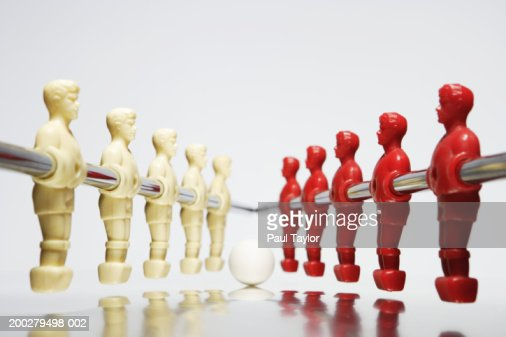Table soccer figures in red and white : Stock Photo