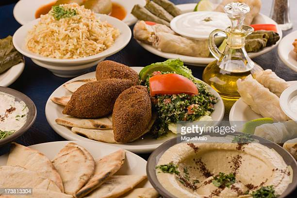 A table spread of middle-eastern dishes like hummus and pita