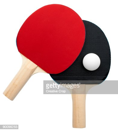 2 Table tennis bats with ball : Stock Photo
