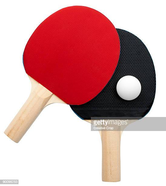 2 Table tennis bats with ball