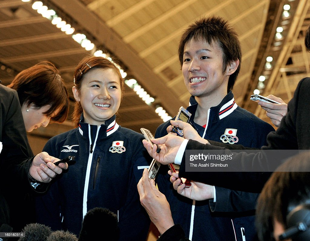 Table tennis players Ai Fukuhara (L) and <a gi-track='captionPersonalityLinkClicked' href=/galleries/search?phrase=Koki+Niwa&family=editorial&specificpeople=5834769 ng-click='$event.stopPropagation()'>Koki Niwa</a> (R) speak to the reporters after the International Olympic Committee (IOC) Evaluation Commission members inspecting Tokyo Metropolitan Gymnasium on March 5, 2013 in Tokyo, Japan. The IOC Evaluation Commission inspects Tokyo's bid for 2020 Summer Olympic.