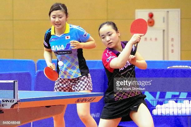 Table tennis players Ai Fukuhara and Mima Ito of Japan open their training at the Aoba Gymnasium on July 4 2016 in Sendai Miyagi Japan